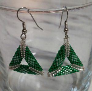 Hand Beaded Triangle Earrings