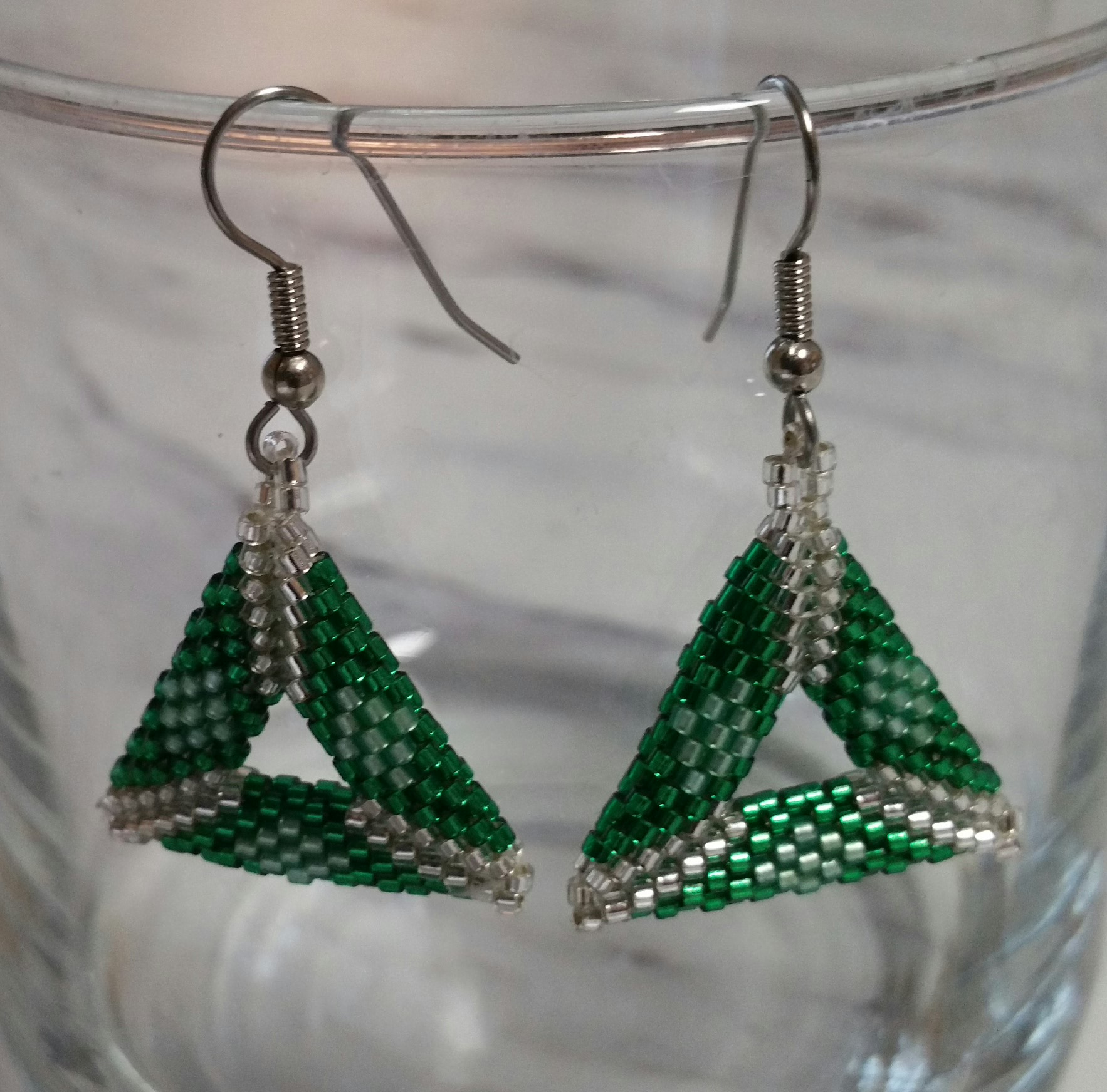 Hand Beaded Triangle Earrings