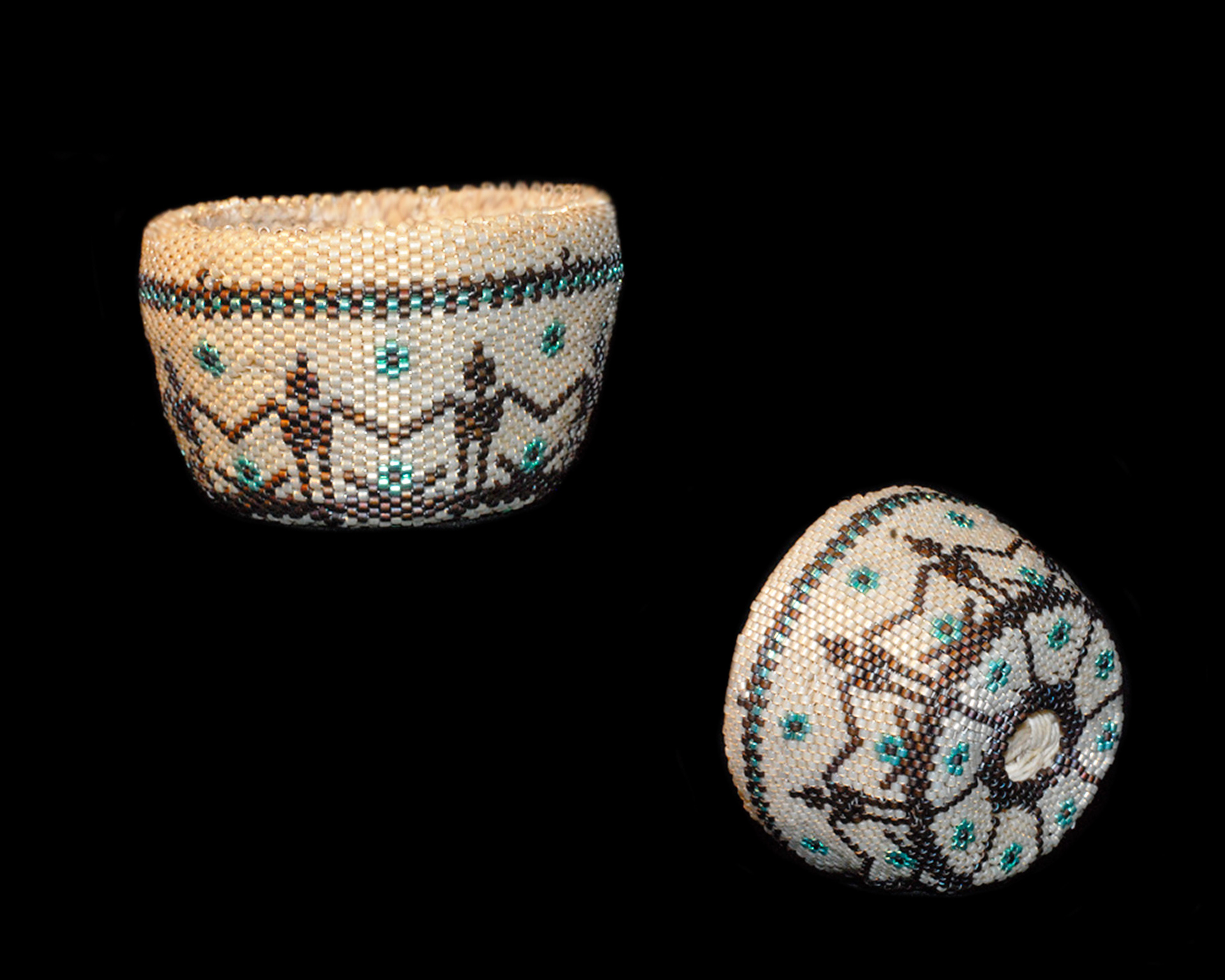 Waxed Linen Basket covered in beads.