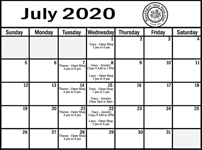 July Shop schedule